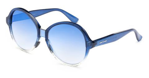 Italia Independent - Suez Light Blue Glitter Sunglasses / Shaded Silver + Blue Mirror Lenses