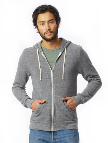 Alternative Apparel - Rocky Eco Fleece Zip Eco Grey Hoodie