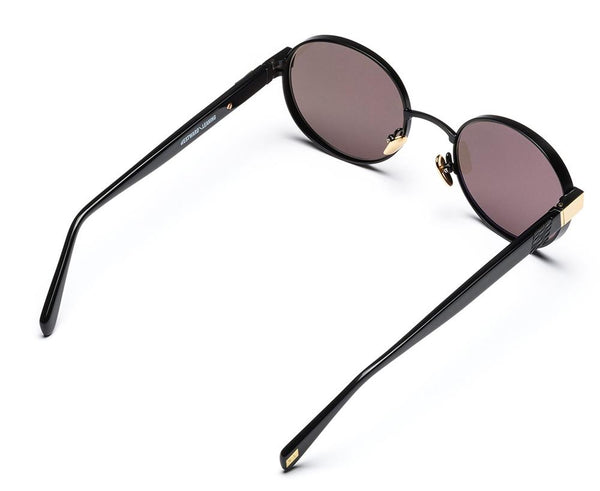 Westward Leaning - Eclipse 03 Matte Black Metal Hood Polished Gold Rim Sunglasses / Standard Grey G15 Lenses