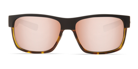 Costa - Half Moon Matte Black + Shiny Tortoise Sunglasses / Copper Silver Polarized Glass Lenses