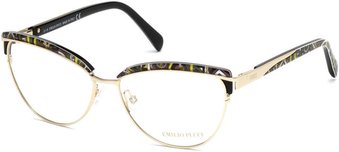 Emilio Pucci - EP5057 Gold + Black Eyeglasses / Demo Lenses