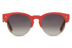 TOMS - Charlie Rae Cinnabar Red Tortoise Sunglasses, Smoke Grey Lenses