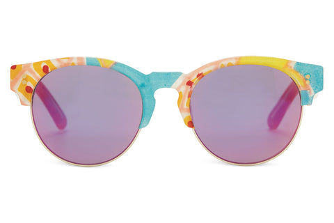 TOMS - Charlie Rae Summer Pineapple Sunglasses, Orange Flash Rose Mirror Lenses