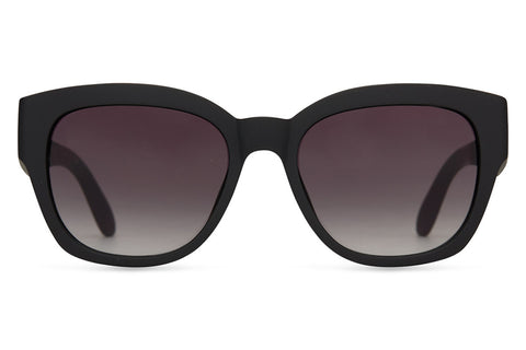 TOMS - Audrina Matte Black Sunglasses, Grey Gradient Lenses