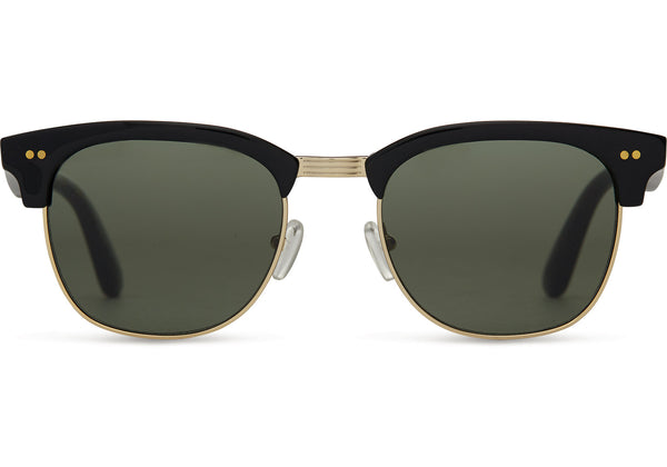 TOMS - Gavin Shiny Black Polarized Sunglasses / Green Grey Lenses