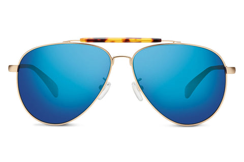 TOMS - Maverick 301 Satin Gold Zeiss Sunglasses, Deep Blue Mirror Polarized Lenses
