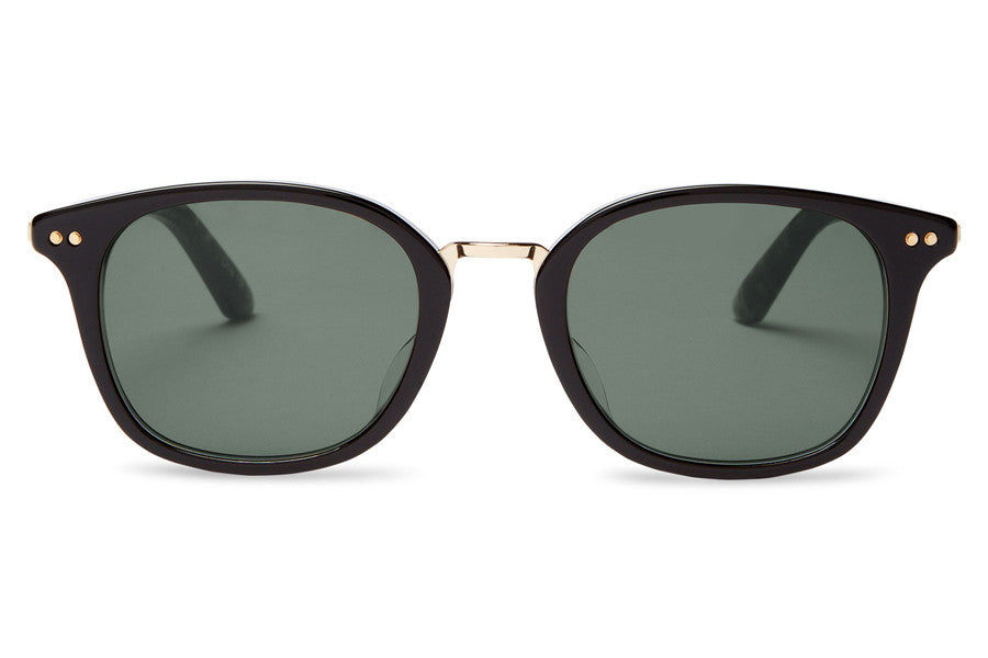TOMS - Barron Black Grey Grain Sunglasses, Green Grey Lenses