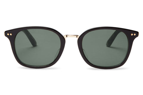 TOMS Barron Black Grey Grain Sunglasses, Green Grey Lenses