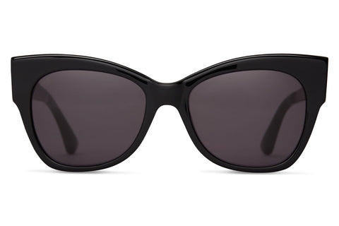TOMS Autry Shiny Black Sunglasses, Dark Grey Lenses