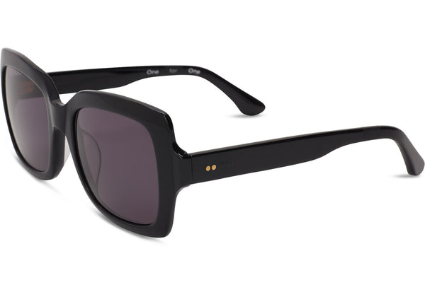 TOMS - Mackenzie Shiny Black Sunglasses, Dark Grey Lenses