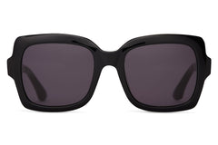 TOMS Mackenzie Shiny Black Sunglasses, Dark Grey Lenses