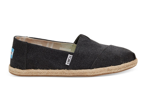 TOMS - Women's Classics Black Washed Canvas Slip-Ons