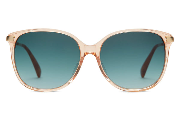 TOMS - Sandela 201 Peach Crystal Sunglasses, Blue Brown Gradient Lenses