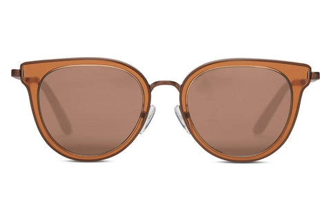 TOMS - Rey Ash Brown Crystal Sunglasses, Brown Gradient Lenses