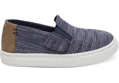 TOMS - Tiny Toms Luca Navy Striped Chambray Sneakers