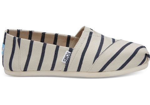 TOMS - Women's Classics Venice Collection White Navy Riviera Stripe Slip-Ons