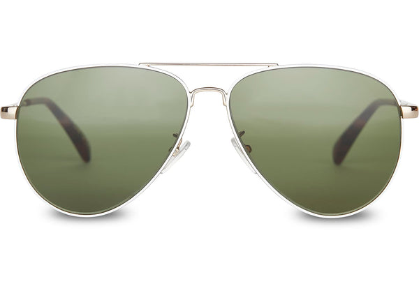 5d2eeb591a82 TOMS - Maverick 301 Shiny Gold White Sunglasses   Glass Bottle Green Lenses  – New York Glass