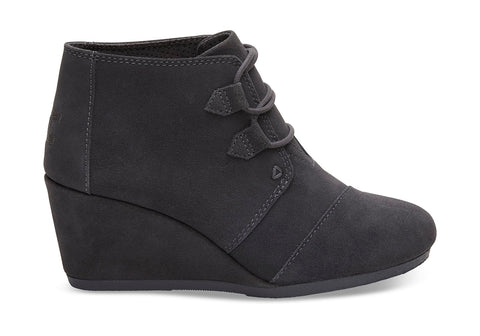 TOMS - Women's Kala Wedge Forged Iron Grey Suede Booties