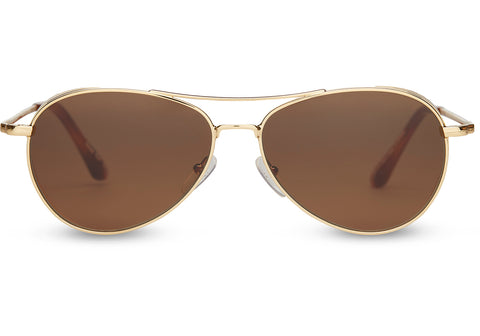 TOMS - Kilgore 301 Shiny Gold Sunglasses / Solid Brown Lenses