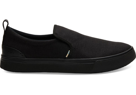 TOMS - Men's TRVL LITE Black Heritage Canvas Slip-Ons