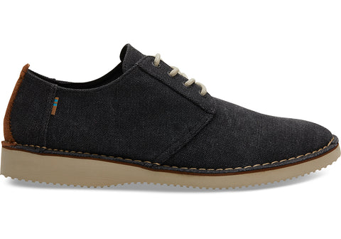 TOMS - Men's Preston Black Washed Canvas Stitch Out Dress Shoes