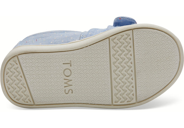 TOMS - Tiny Classics Light Bliss Blue Speckled Chambray Dots Bow Slip-Ons