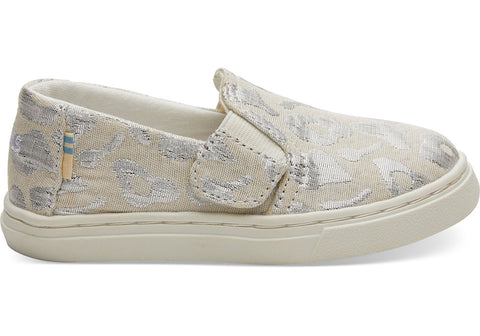 TOMS - Tiny Toms Luca Silver Metallic Woven Cheetah Sneakers
