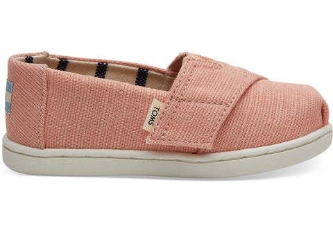 TOMS - Tiny Toms Classics Coral Pink Heritage Canvas Slip-Ons