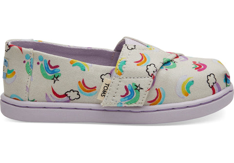 TOMS - Tiny Classics White Jumping Rainbows Slip-Ons