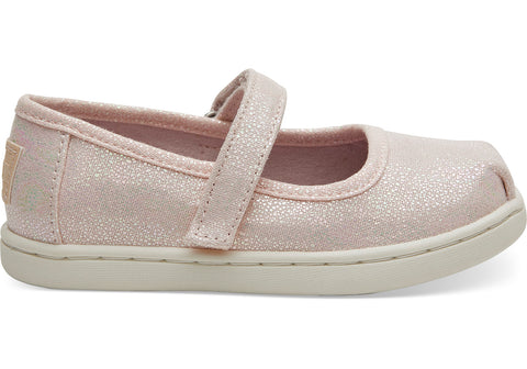 TOMS - Tiny Toms Mary Jane Pink Iridescent Droplets Flats