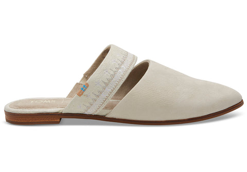 TOMS - Women's Jutti Mule Off White Nubuck Embroidered Strap Flats