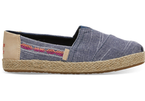 TOMS - Youth Classics Navy Rugged Chambray Rope Slip-Ons