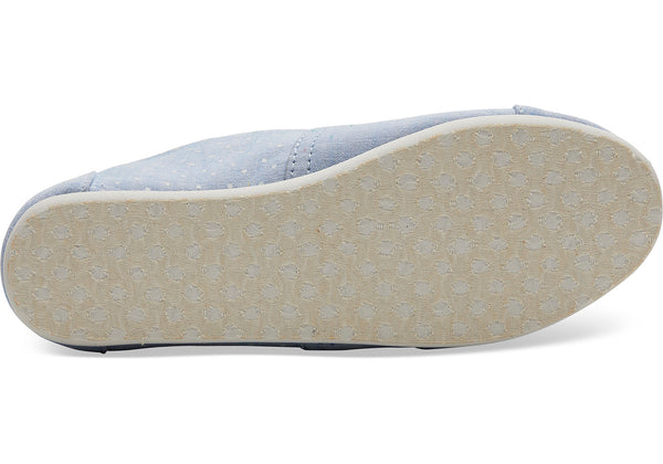 TOMS - Youth Classics Light Bliss Blue Speckled Chambray Dots Slip-Ons