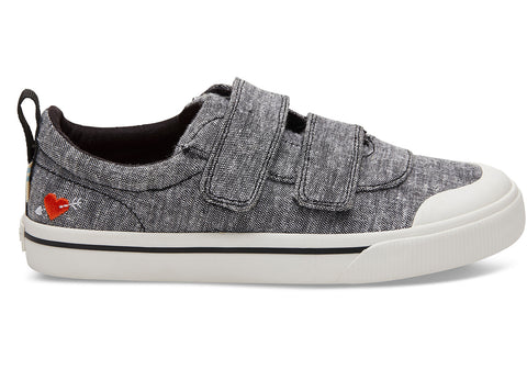 TOMS - Youth Doheny Black Slub Chambray Sweetheart Sneakers
