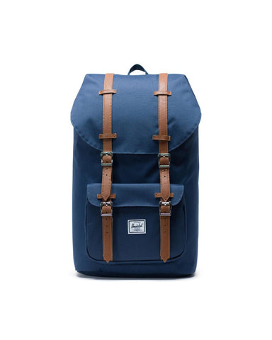 Herschel Supply Co. - Little America Navy Tan Synthetic Leather Backpack