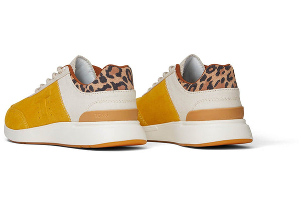 TOMS - Women's Arroyo Leopard Yellow Suede and Canvas Sneakers