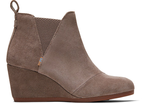 TOMS - Women's Kelsey Taupe Gray Suede Booties