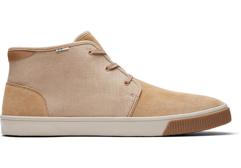 TOMS - Men's Topanga Collection Carlo Mid Tan Suede Heritage Canvas Sneakers
