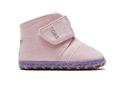 TOMS - Tiny Cuna Pink Microsuede Star Applique Crib Shoes