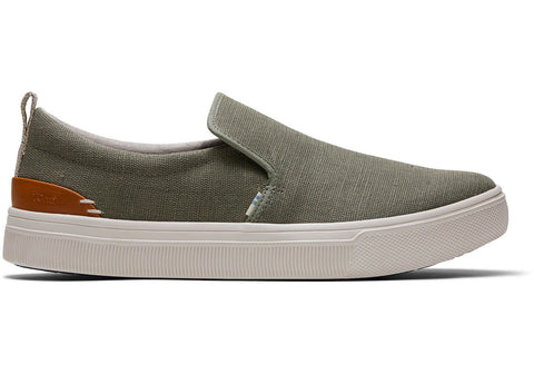 TOMS - Men's TRVL LITE Green Canvas Slip-Ons