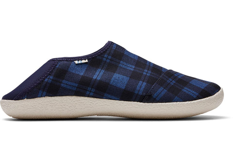 TOMS - Men's Rodeo Navy Twill Check Slippers