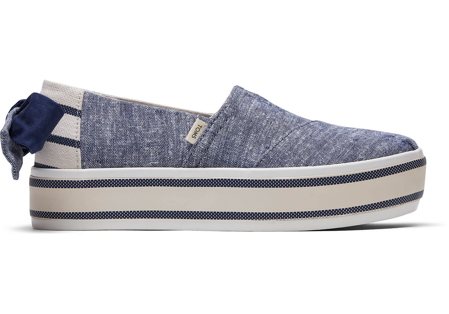 TOMS - Women's Blue Chambray Striped with Bow Alpargata Boardwalk Slip-Ons