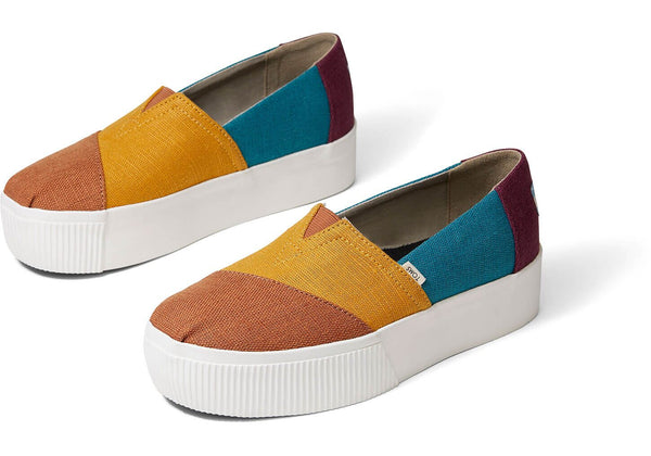 TOMS - Women's Alpargata Boardwalk Multi Coloured Canvas Platform Slip-Ons