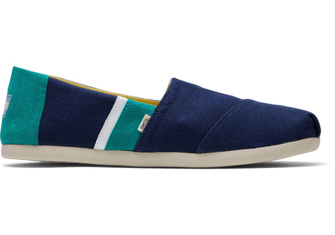 TOMS - Men's Classics Ortholite Navy Green Color Blocked Slip-Ons