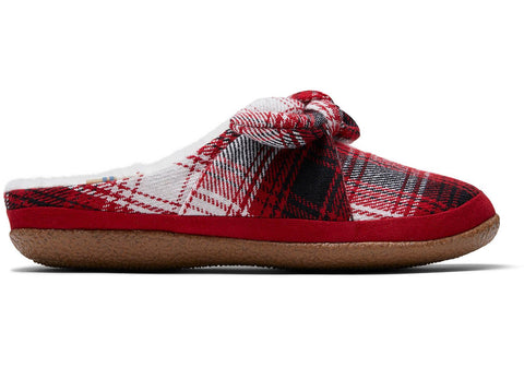 TOMS - Women's Ivy Red Plaid Bow Slippers