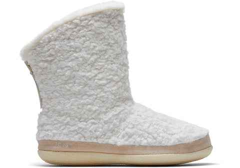 TOMS - Women's Inez Natural Faux Plush Shearling Slippers