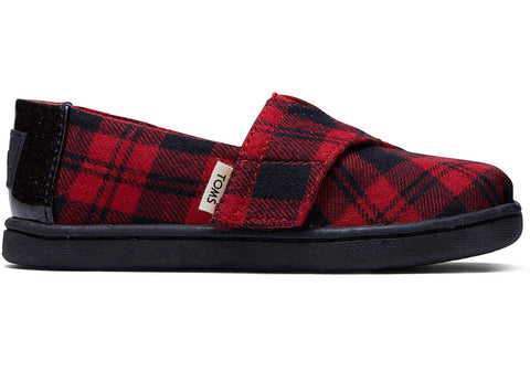 TOMS - Tiny Classics Red Buffalo Plaid Slip-Ons