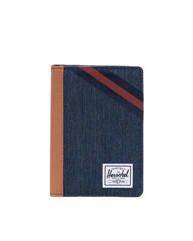 Herschel Supply Co. - Indigo Denim Synthetic Leather Stripe Peacoat Picante Passport Case