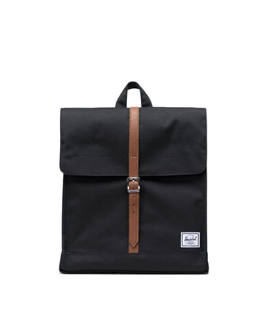 Herschel Supply Co. - City Black Tan Synthetic Leather Mid Volume Backpack