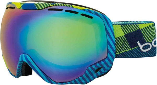 Bolle - Emerald Blue Green Plaid Snow Goggles / Green Emerald Lenses